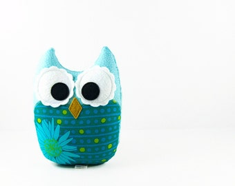 Teal Aqua Lime Plush Owl Stuffed Toy Nursery Decor Ready to Ship