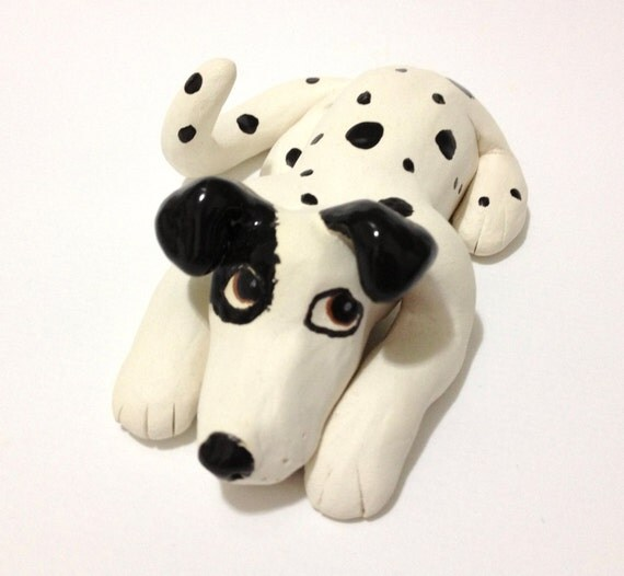 Ceramic Dalmatian Dog Sculpture