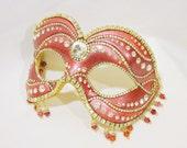 Masquerade Ball Mask - Venetian Mask - Pink Mask - Masquerade Mask - Rhinestone Mask - Crystal Mask - Enchantment