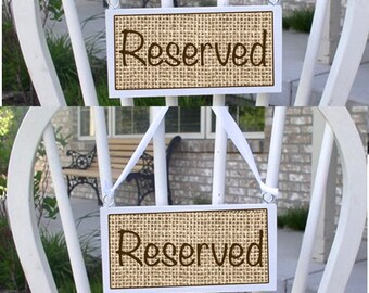 wedding chair sign wedding sign reserved chair sign wedding signage rustic wedding decor burlap wedding head table signs mr and mrs sign