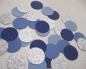 """Confetti Celebration packet of 1"""" paper circles in Ombre Blues/Silver- Parties/Showers/Weddings/Holidays/Table Decor/DIY Garland"""