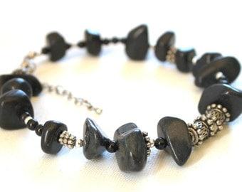 Anklet, jewelry, black stones, ankle bracelet