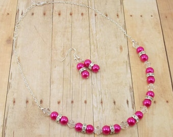Necklace and Earrings - Bright Pink Glass Pearls with Rhinestone Spacers and Clear Beads - Bridesmaid Jewelry - Bling - Fuchsia
