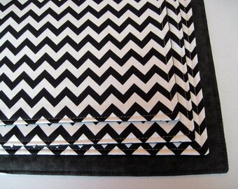 Black and White Chevron Placemats Set of 4 or 6 Reversible Zig Zag Black Chevron Placemats Black Placemats Black and White Kitchen