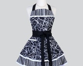 Ruffled Retro Apron . Cute Sassy Womens Retro Apron in Tuxedo Stripes and Swirls Cute Apron