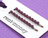 beaded bobby pins - elaine in plum dressing