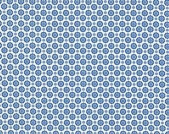 Flower Sugar Fall 2013 Dark Blue Medallions on White Cotton Fabric  by Lecien 30845-70