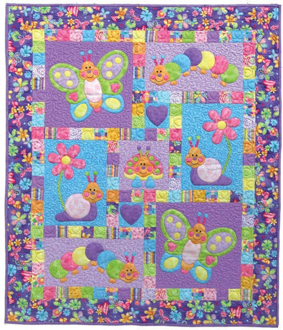Bugsy Quilt Pattern By Kids Quilts Butterflies Snails Garden