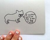 Funny Thinking of You, Blank Folded Card, French Bulldog