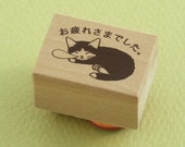 """Japanese Cat Wooden Rubber Stamp - """"Thanks For Your Hard Work"""" Tuxedo Cat - Pottering Cat"""