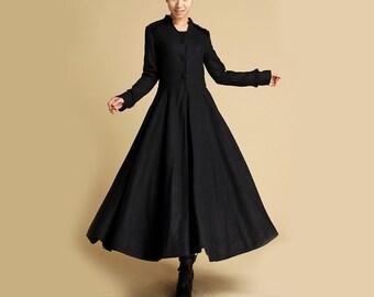 Long Black coat, Winter Coat, Maxi Coat, Long Wool Coat, Coat Dress, long Coat, designer clothing, womens Coats , plus size Coat (355)