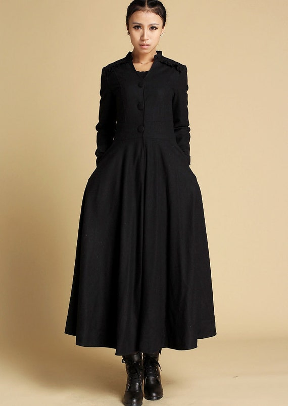 Maxi coat winter coat wool coat womens coats black coat