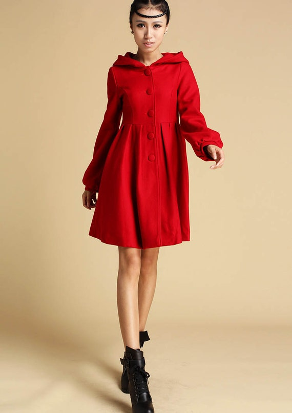 Red wool coat hooded coat red jacket winter coat fitted