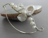 Silver shawl pin, scarf pin in wavy vine design with wrapped white fresh water pearls petals design