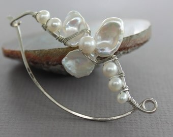 Silver shawl pin, scarf pin in wavy vine design with wrapped white fresh water pearls petals design - Luxurious pin - Statement pin - SP065