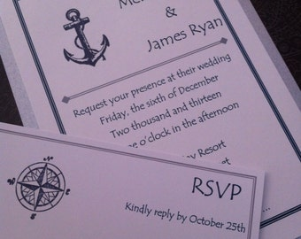 Anchor nautical ocean themed wedding invitation set