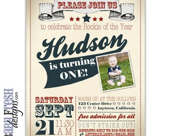 Rookie of the Year Baseball Birthday Invitation • Vintage Baseball Birthday Invite • PRINTED ON CARDSTOCK
