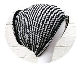 Dreadlock accessory, headband hat, wide knitted hair wrap, black stripes.