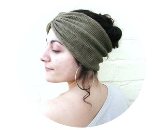 Turban headband, olive hair wrap, womens knit accessory, winter fashion.