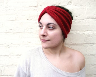 Headband, red wrap, womens hair accessory, knit turban hat, winter ear warmer.