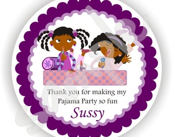 Pajama Party Theme - 40 Thank You 2 inch circle Stickers - Custom Favor Stickers - Envelope Seal - Address Label - Personalized Stickers