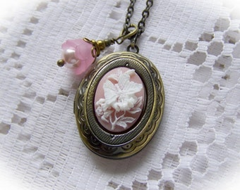Butterfly Cameo Locket - Pink - Neo Victorian Jewelry - Butterflies & Flowers Dimensional Butterfly - Pink and White Antiqued Gold Locket