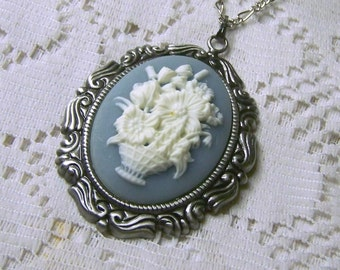 Flower Bouquet Cameo Necklace - Wedgewood Blue and White - Flower Basket