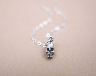 Mini Skull Necklace Sterling Silver