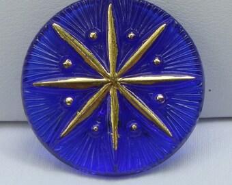 Eight Pointed Star Czech Glass Button