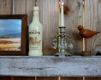 Home Decor - 18 Inches - Wet Bar Shelf - Reclaimed Wood - Whitewashed Gray - Floating - Wall Hanging - Farmhouse Chic - Shelves