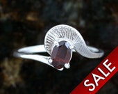 Silver Garnet Ring, Modern Jewelry Solid Cast Sterling Silver Simple Style Design, Red Gemstone -Size 6 1/2