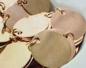 10 Stamping Blanks, Discs - Filed and Polished with Jump Rings - 25mm Jewelry Grade - Bronze, Brass or Copper - 100% Guarantee