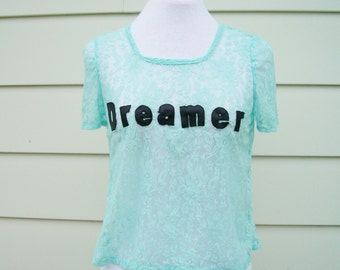 Dreamer Lace T-Shirt in Seafoam Blue - Pastel Blue Lace Top. Cute Summer Top. Leather and Lace Top. One Size.