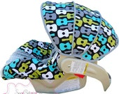 Infant Car Seat Cover Groovy Guitars Lagoon with Grey --Moves to Toddler
