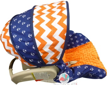 Infant Car Seat Cover Orange Chevron with Anchors