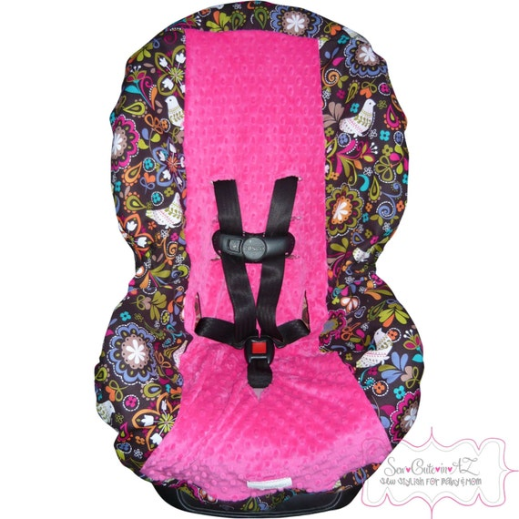 Toddler Car Seat Cover Birds of Norway with Hot Pink