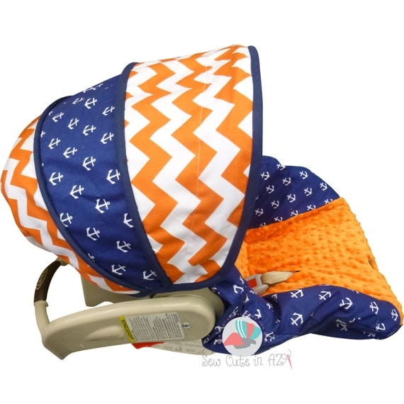 infant car seat cover orange chevron with anchors by sewcuteinaz. Black Bedroom Furniture Sets. Home Design Ideas