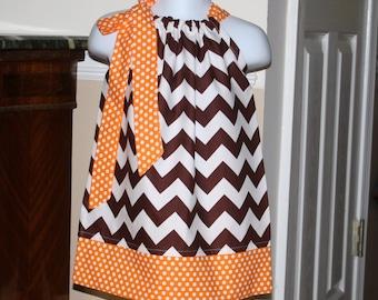 baby Girls fall chevron Pillowcase dress thanksgiving fall riley blake brown, orange, polka dot toddler girls dress