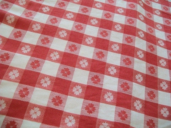 Vintage Red White Checked Tablecloth Woven Table Cloth