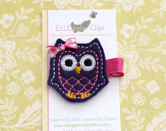 Emme the Owl- Dark Purple and Pink Felt Owl Hair Clip - Girls Hair Clips / Felt Owl / Woodland / Embroidered