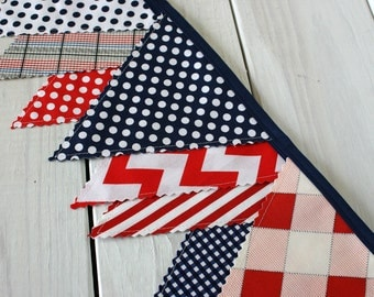 Banner, Bunting, Photography Prop, Fabric Flags, Nautical Nursery Decor, Garland, Pennant - Red, Navy Blue, Chevron, Stripes, Plaid