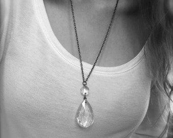Vintage Chandelier Crystal Necklace - Faceted Glass Drop