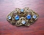 SALE Vintage Czech Brass Filigree & Blue Stone Brooch Pin