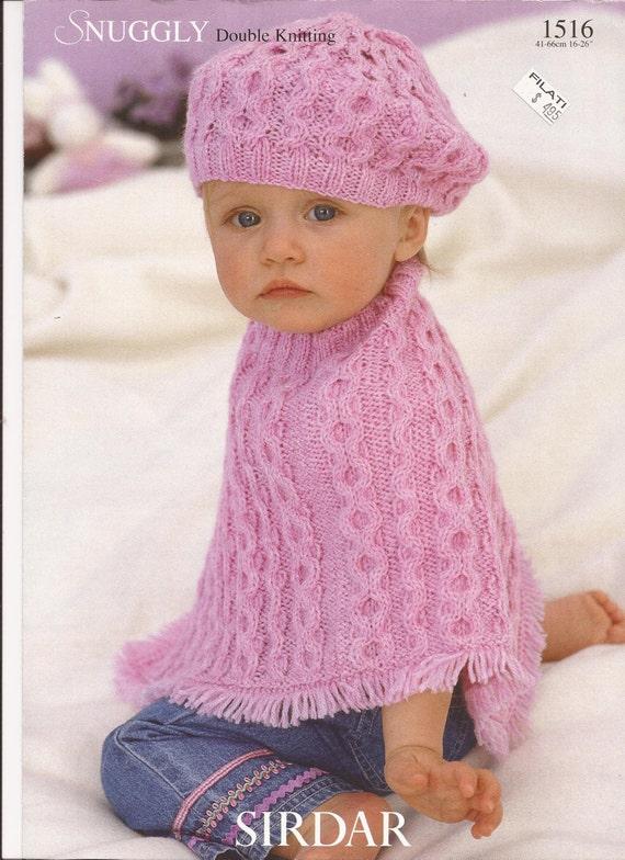 Sirdar Dk Knitting Patterns : Sirdar Snuggly DK Knitting Pattern 1516 Poncho & Beret