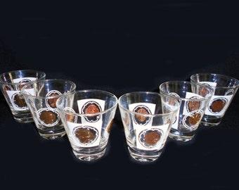 6 Vintage Shot Glasses Gold Medallion Designs in White Hollywood Regency Mad Men Style by Libbey