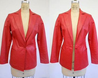 Womens Vintage 19890's  Red Leather Blazer Jacket by Newport News Size 4 X small
