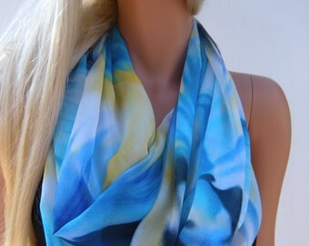 Blue and Yellow Chiffon Infinity scarf  Painted Sky-Necklace Scarf Circle loop scarf