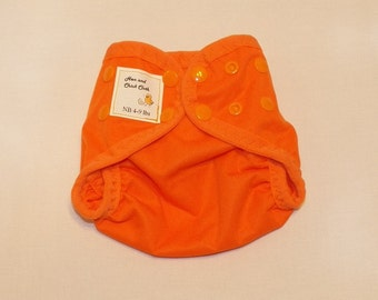 Preemie Newborn PUL Diaper Cover with Leg Gussets- 4 to 9 pounds- Orange- 20017
