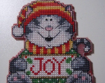 Cross Stitched CAT No. 5 CHRISTMAS ORNAMENT