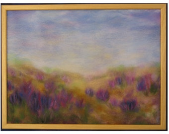 Sage on a mountain meadow - wool fiber art, wall hanging, wool picture